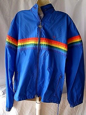 Vintage 80s OP OCEAN PACIFIC BLUE RAINBOW Medium Hooded Windbreaker Nylon Jacket