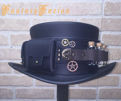 Steampunk Hat Futurist Traveller Gears Leather Top Hat Pockets and Glass Vials