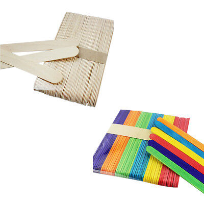 50X Large WoodenMulticolor Popsicle Sticks Kids Hand Crafts Ice Cream Lolly DIY