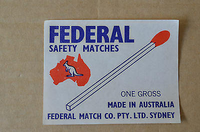 Old Australian Federal Safety Matches One Gross Matchbox Label