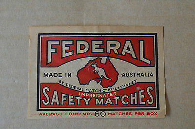 Old Australian Federal Safety Matches Packet Size 60 Matches Matchbox Label