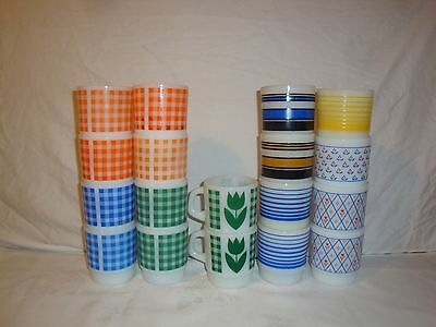 Fire King Termocrisa Coffee Cup Mug Glass Tulips Gingham C Handle Stackable
