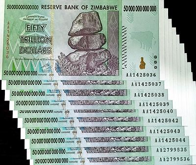 10X 50 Trillion Dollars AA 2008 Series Zimbabwe Zim UNC With Certificate COA