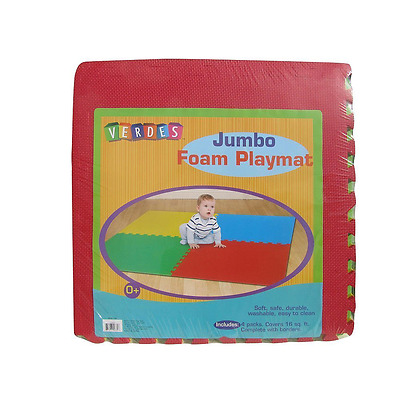 Jumbo Foam Red, Green, Blue, & Yellow Toy 16 Sq Ft Playmat Set of 4 Squares