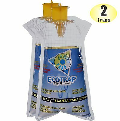 2 Ecotrap Guard JUMBO Disposable Non toxic Fly Traps Bags Catchers Killer Zapper