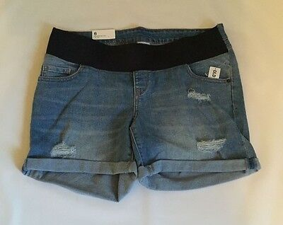 Old Navy  12 14 Shorts Maternity Denim Light Distressed Low Panel Nwt