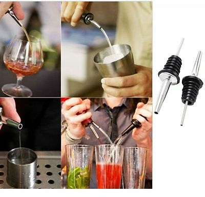 2x  Wine Oil Pourer Stainless Steel  Free Flow Liquor Spout Stopper