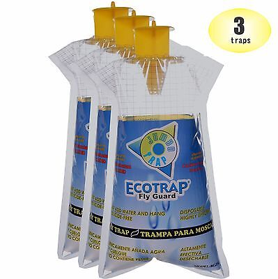 3 Ecotrap Guard JUMBO Disposable Non toxic Fly Traps Bags Catchers Killer Zapper