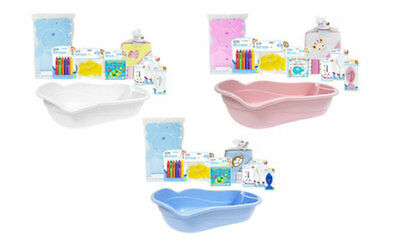 Complete Baby Bath Set Baby Shower Gift Toys Towel Bath Support Blue Pink White
