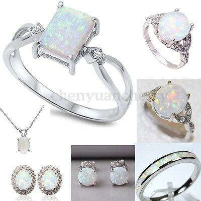 Various Sterling Silver Australian Fire Opal Ring Engagement Necklace Earrings