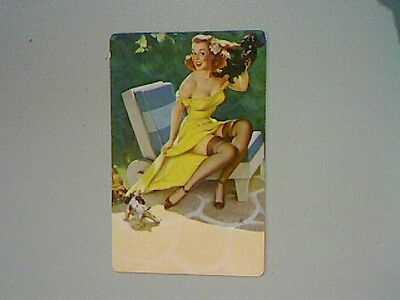 1 Single Swap/Playing Card - Pin Up Lady With Dogs