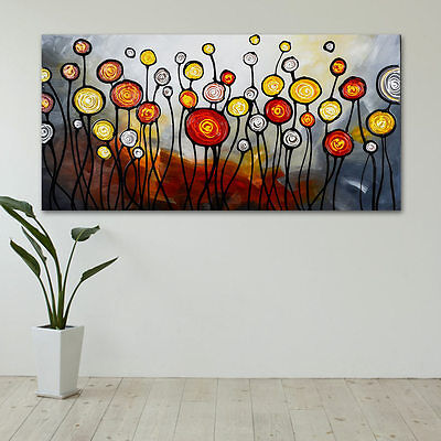 Dancing Dandelions Pure Hand Painted Wall Art Oil Painting Back Framed Canvas