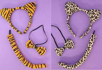 Animal Print Set Tiger Leopard Ears Tail Bow Tie Fancy Dress Outfit Free UK Post