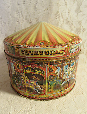 VINTAGE CHURCHILLS OF LONDON CAROUSEL TOFFEE TIN - MERRY-GO-ROUND - 1990's