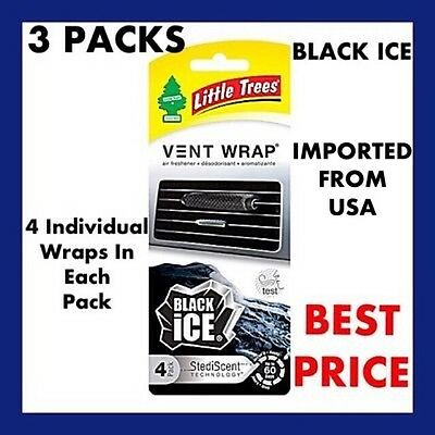3x4 Pack(TOTAL 12 Wraps) Little Trees Invisi Vent Wrap Clip-On, Black Ice