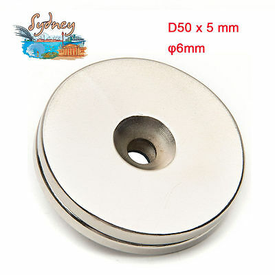 2x N35 50x5mm Hole 6mm Large Strong Magnets Neodymium Round Rare Earth Powerful