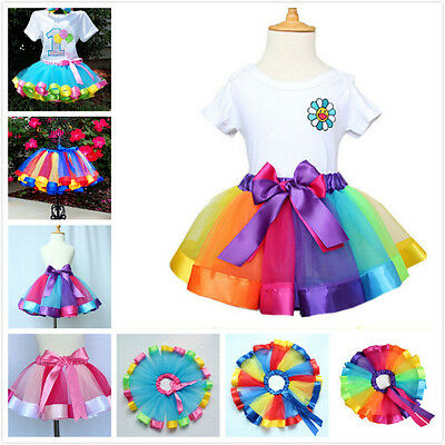 Pop Kids Girl Ballet Dress Party Bow Tulle Tutu Skirt Costume Rainbow Dance Wear