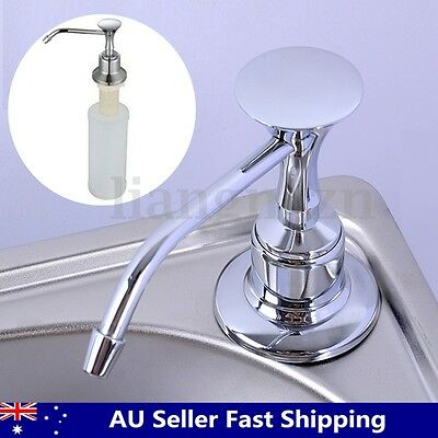 220ml White Kitchen Chrome Liquid Soap Dispenser Bathroom Sink Pump Bottles