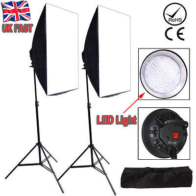 Photography Studio LED Softbox Continuous Lighting Soft Box Light stand Kit Set