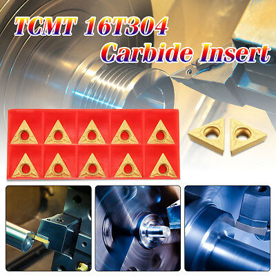 """10pcs TCMT 16T304 Tungsten Carbide Inserts Golden Coated 1/2"""" Lathe Turning Tool"""