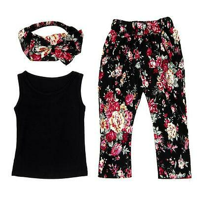 3PCS Kids Toddler Baby Girl Shirt Tops Vest+Floral Pants+Headband Outfit Clothes