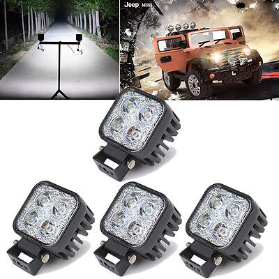 4pcs 12W 4LEDs Car Work Spot Light Driving Lamp for Jeep SUV Car Offroad 12/24V