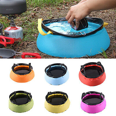 Outdoor Ultra Foldable Camping Basin Sink Washing Bag Water Pot 10L Multicolor