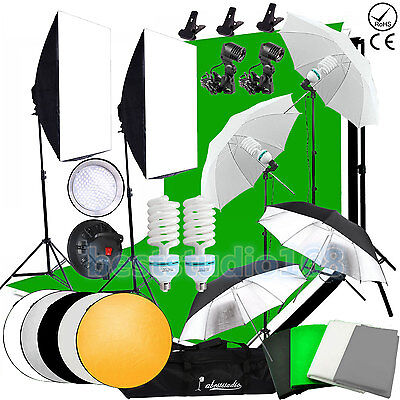 Photography Studio LED Softbox Continous Lighting Kit Backdrop Umbrella Stand UK