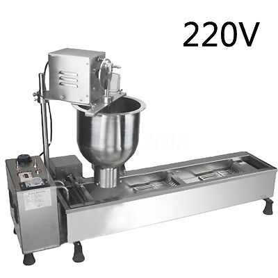 220V Automatic Donut Maker Making Machine Wide Oil Tank w/ 3 Sets Free Mold New