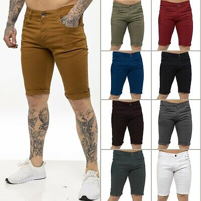New KRUZE Mens Slim Fit Stretch Cotton Chino Shorts Summer Casual Smart All Size