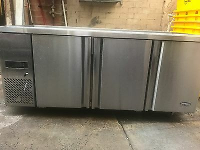3 Door Stainless Steel Saladette Prep Refrigerator/Fridge With 10 Trays