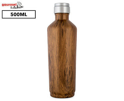 Gourmet Kitchen Double Wall Insulated Water Bottle 500mL - Dark Wood