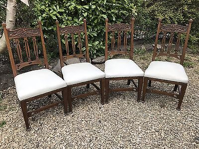Set 4 Quality Vintage Oak  Edwardian Arts & Crafts Dining Chairs