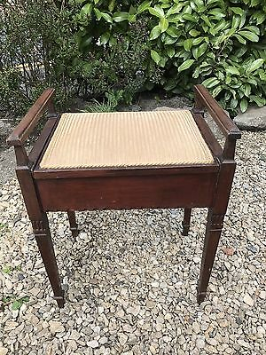 Original Edwardian Vintage Mahogany Piano Stool - Lift Up Lid