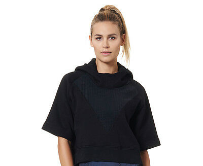 JAGGAD Women's Crop Short Sleeve Hoodie - Black