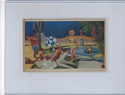 """TWA Airlines issued """"Valley of the Sun"""" artistic linen  postcard"""
