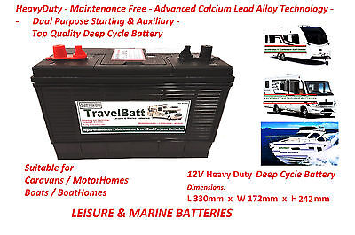 12V 130AH (110AH) TB31MF Deep Cycle Leisure Battery Motorhome Caravan Campervan