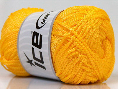 Lot of 4 x 100gr Skeins Ice Yarns MACRAME CORD Knitting Wool Yellow