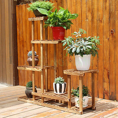 Garden Solid Wooden 6 Racks Flower Hard Wood Display Stand Potted Plants Shelves