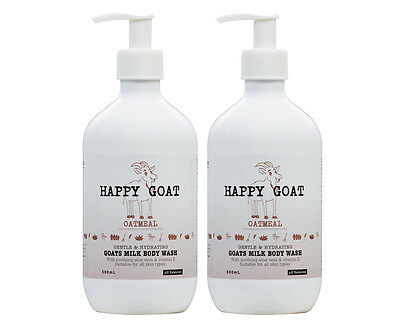 2 x Happy Goat Gentle & Nourishing Goat's Milk Body Wash Oatmeal 500mL