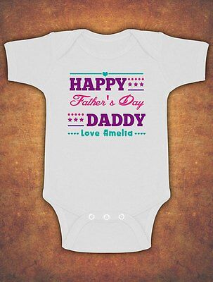 Personalised Happy 1st First Fathers Father's Day Baby Kids Body Suit Vest Girls