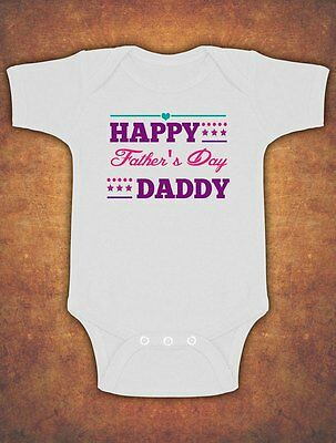 Happy 1st First Fathers Father's Day Baby Kids Body Suit Vest Girls