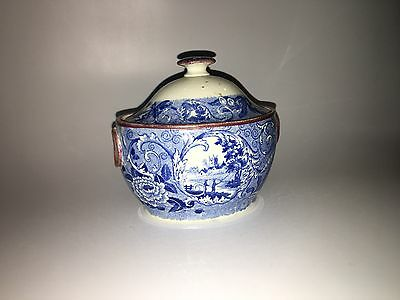 Historical Staffordshire Blue Fishing Castle Scene Sugar Bowl Luster Rim 1820