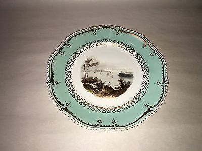 Historical Staffordshire Porcelain Painted Plate New York From Weehawken 1840