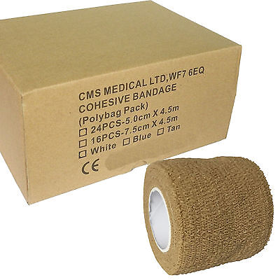 Full Box of Premium Tan 5cm Coban Cohesive Bandage Athletic Support Tape Rolls
