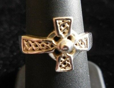 Sterling Silver CELTIC CROSS RING Size 6.25 IRISH DESIGN .925 Marked
