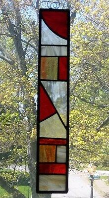 stained glass, abstract, suncatcher, hand crafted, leaded glass,geometric. red