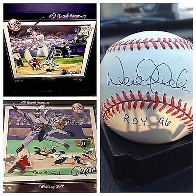 Derek Jeter NY Yankees set 2 Warner Brothers rare cel 1 signed  Rookie baseball