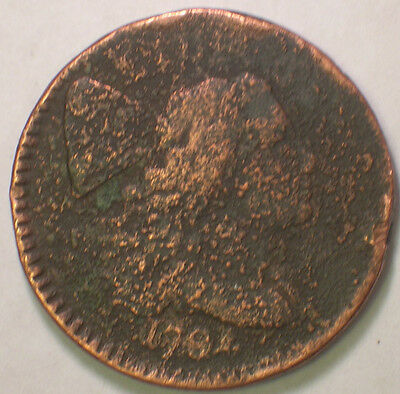 1794 Flowing Hair Large Cent Corrosion and Cleaned