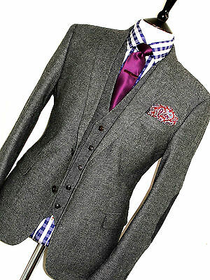New Mens Next London Donegal Tweed 3 Piece Town & Country Suit 42R W34 X L31